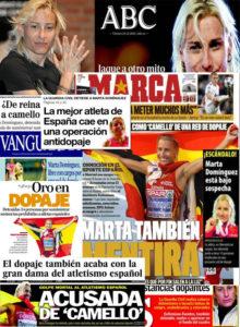 Portadas dopaje Marta Domínguez acusada camello