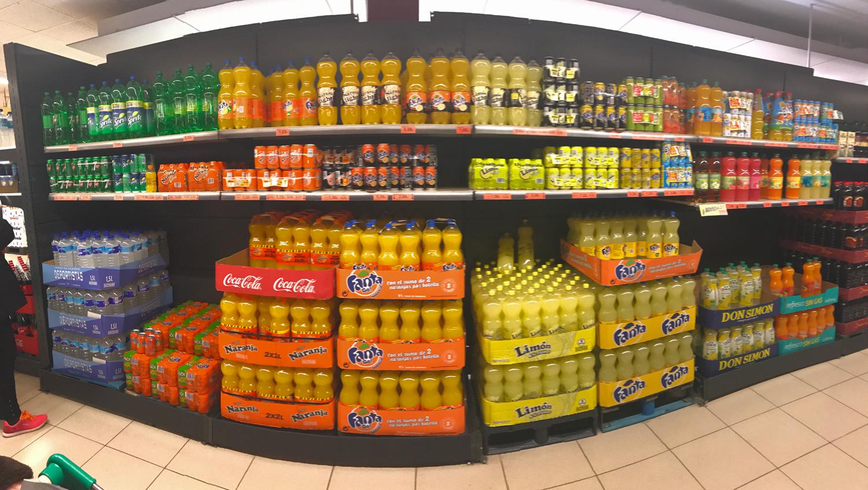 bebidas azucaradas / Coca-Cola / Fanta / Sprite / salud / carbonatadas / supermercado