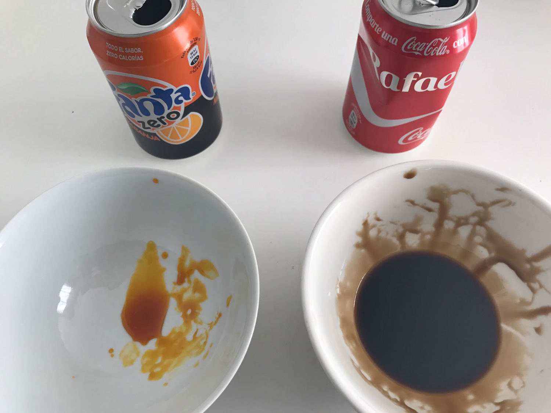 Azúcar / Caramelo / Experimento / Coca-Cola / Fanta / Bebida zero / Calorías