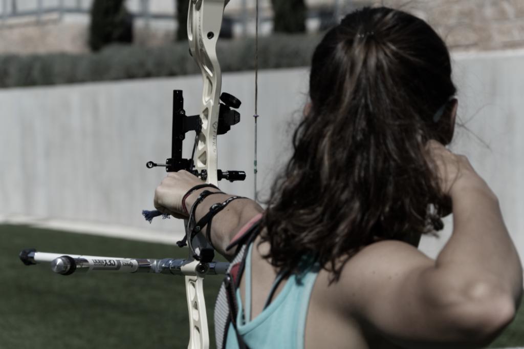 arquera, flecha, arco, tiro, entrenamiento
