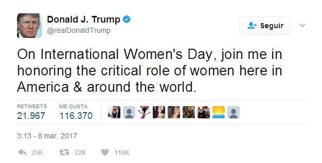 Donald Trump. día internacional de la mujer, Twitter,
