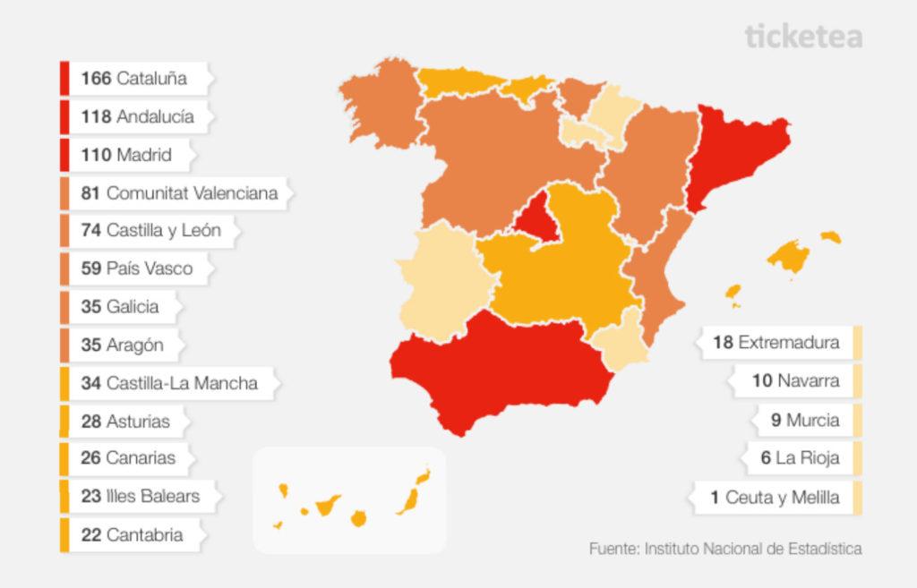 Mapa de las Comunidadesque más festivales acogen Autónomas