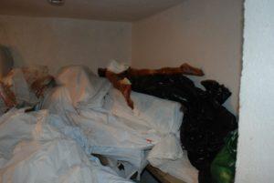 Cuerpos en descomposición cubiertos de formol y expuestos en las habitaciones